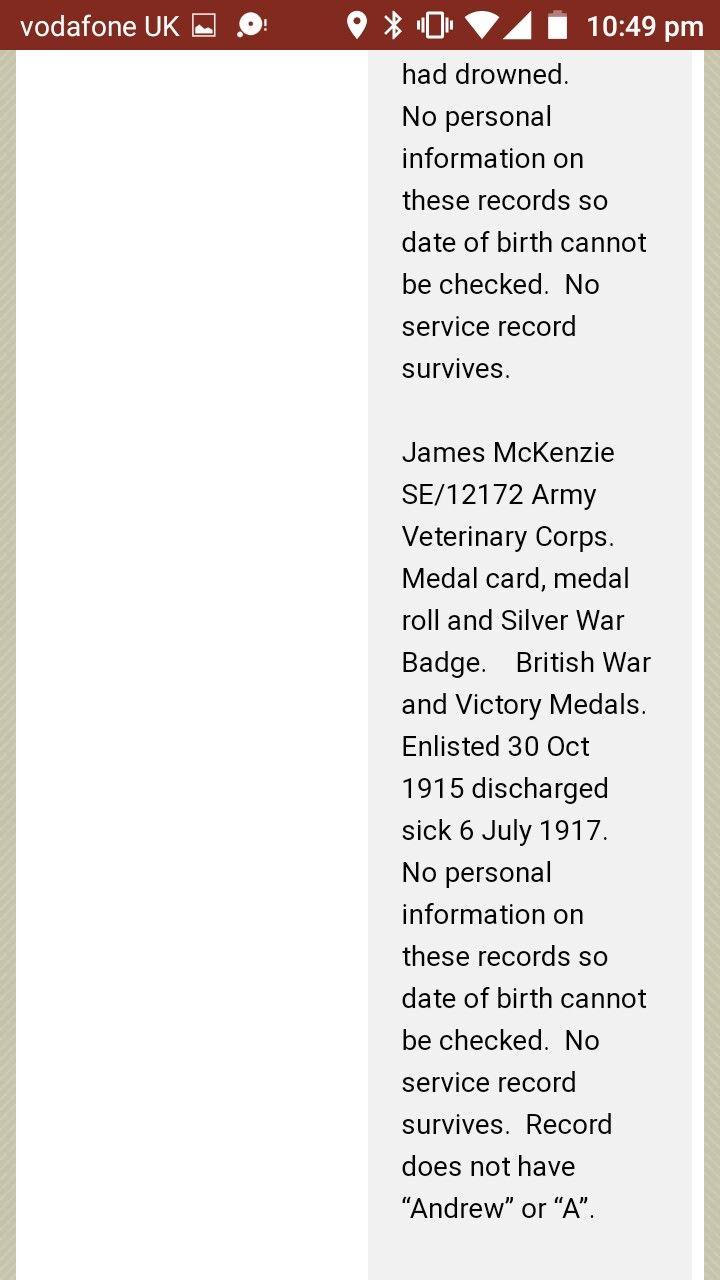 James McKenzie - SE / 12172 - British Royal Army Veterinary