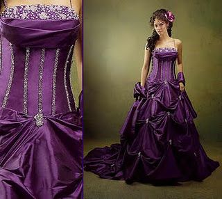 Interesting purple wedding dress!