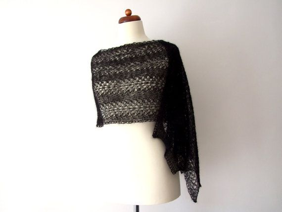 black lace shawl knitted lace wrap mohair shawl goth bride