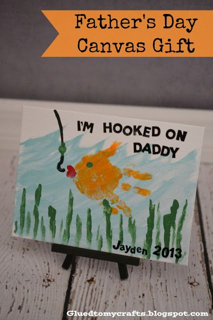 I'm Hoooked On Daddy- Glued to my crafts. Father's day gift idea from kids. Cute! #kidscraft #fathersday #diy