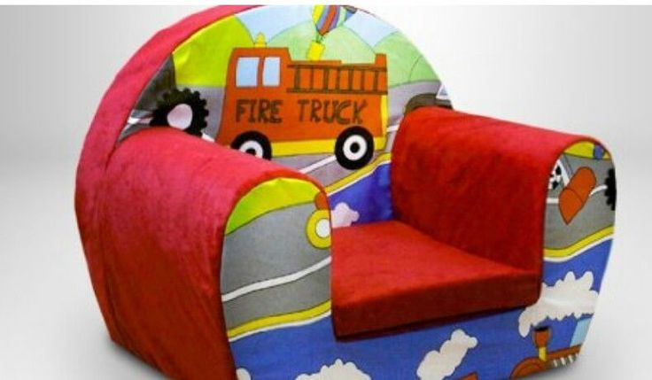 Childs Foam Armchair Lightweight Kids Toddlers Fire Truck Design Soft Seat Pad #SRUK