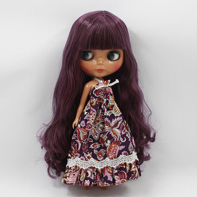 Nueva Lista de Blyth Muñeca DIY Maquillaje Nude Negro Púrpura Pelo Largo Con Flequillo Princesa Muñecas Para Chicas Regalos