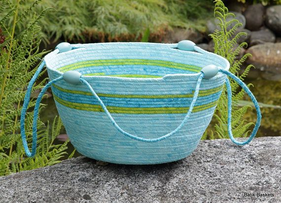 Tropical turquoise with lime green accent wrapped cord Storage