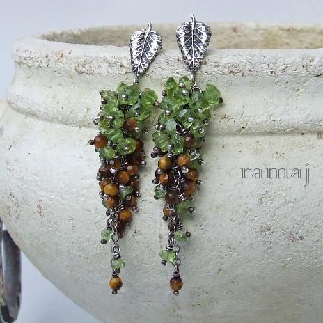 Jewelry made by RAMAJ - earrings with peridot & tiger eye