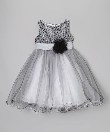 Another great find on #zulily! Silver & Black Sequin Overlay Dress - Toddler & Girls #zulilyfinds