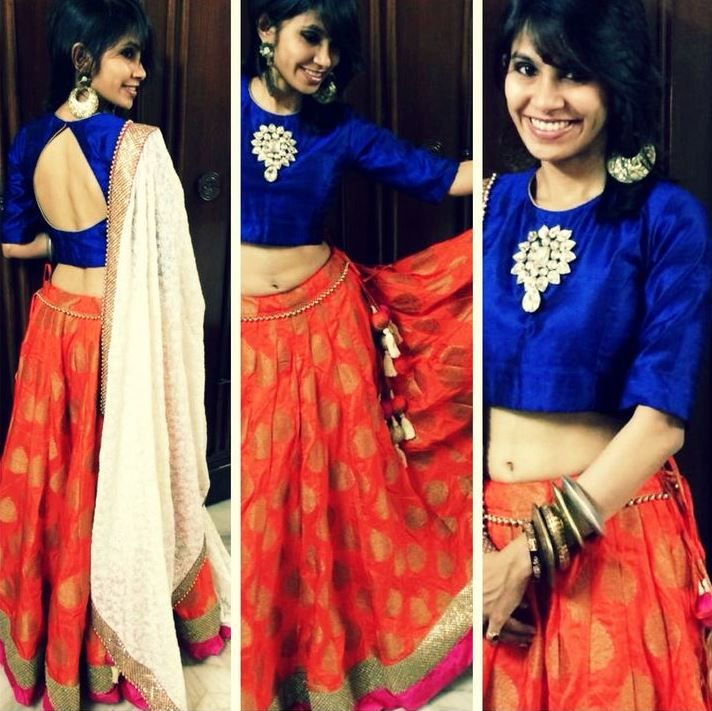 Dark Blue and Orange Lengha