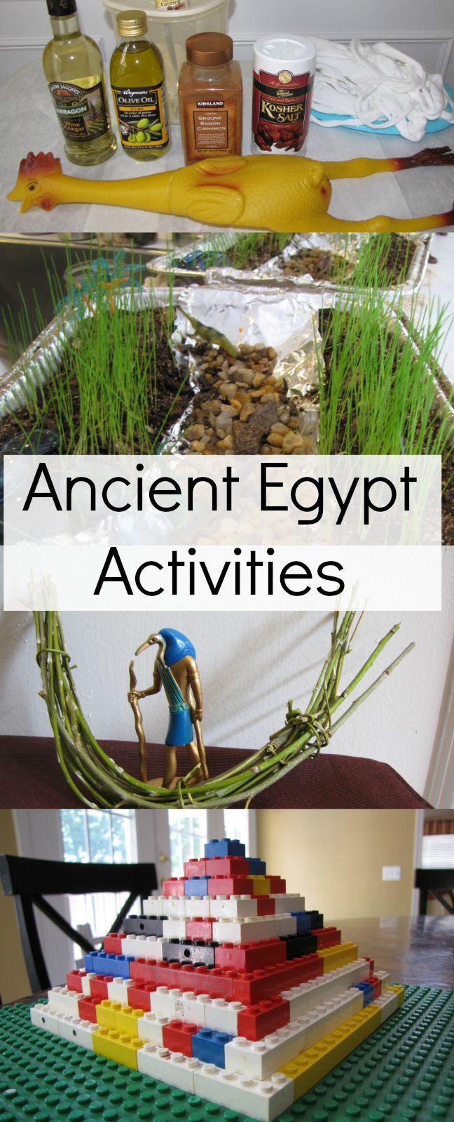 Ancient Egypt activities for kids. Mummify a rubber chicken, build a LEGO pyramid, make a Nile River, a reed boat and more. | Creekside Learning