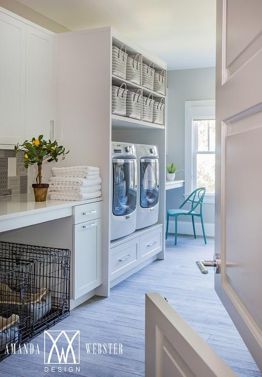 Washer and Dryer on Riser with Overhead Shelves