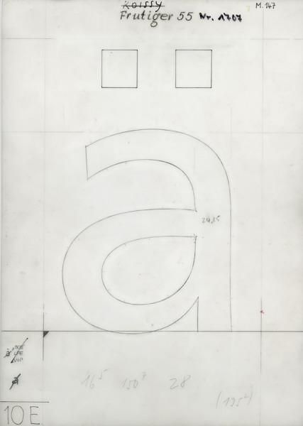 Frutiger 55 drawing SchriftenentwerferIn: Adrian Frutiger AuftraggeberIn: D. Stempel AG, Frankfurt am Main, DE