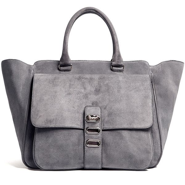 Tila March Manon Grey Suede Winged Tote Bag With Silver Hardware and Top Handles