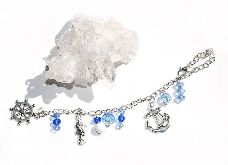 Rückspiegel Auto Spiegel Anhänger Maritim Glas Kristall Charm blau silber 14cm Anker Seepferdchen Glücksbringer Dekoration Schmuck Geschenk von CreativeWithHeart auf Etsy