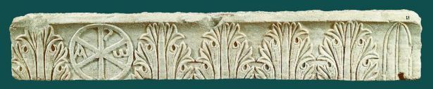 Byzantine Date: 5th c. Part of marble architrave with relief ornamentation featuring acanthus leaves and Christogram with the apocalyptic letters A and Ω