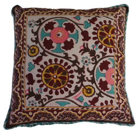 Printed cotton cushion featuring Suzani pattern in deep red, aqua, pink, chocolate and mustard colours.  The reverse features an aqua and white stripe.  Hand block printed in India using ethical and environmentally friendly construction that preserves and celebrates traditional artisan skills.  100% natural cotton cover with NZ made polyfill inner.  Dimensions: 45cm x 45cm