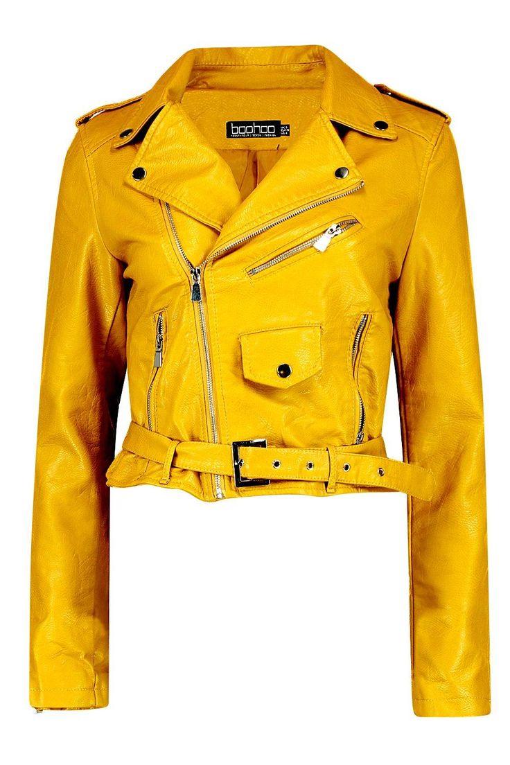 Savannah Crop Leather Look Biker Jacket