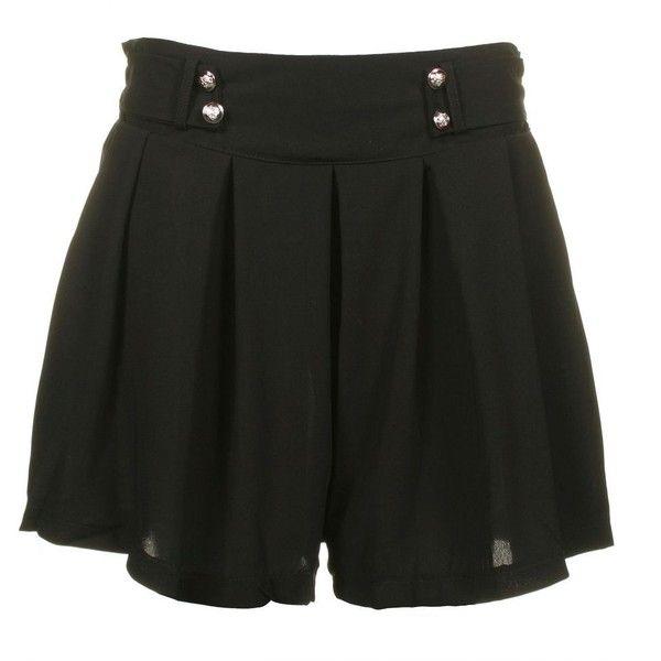 Angel Eye Womens High Waist Plain Black Shorts ($16) ❤ liked on Polyvore featuring shorts, skirts, bottoms, short, black, loose shorts, high rise shorts, military shorts, short shorts and high-waisted shorts
