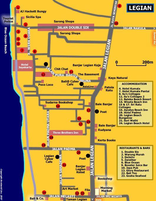 Map of Legian Bali   Bali Blog