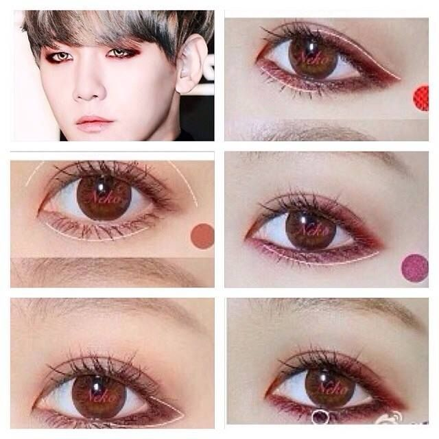 Exo's Baek hyun makeup tutorial. lol I actually totally copied his look the day I saw that pic lol #exo #kpop #makeup #tutorial