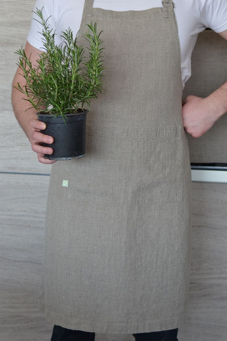 Natural linen apron / Unisex apron / Stonewashed linen / Rustic apron / Organic clothing / Chef's apron by SproutLinen on Etsy