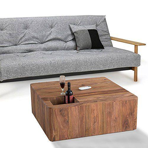 lounge-zone sheesham Couchtisch Wohnzimmertisch Sofatisch Wohnzimmer Beistelltisch Tisch PENAALI Massivholz Sheesham Holz Sheeshamholz Massiv naturgemasert Stone Finish Ablagefach 90x90cm 13566