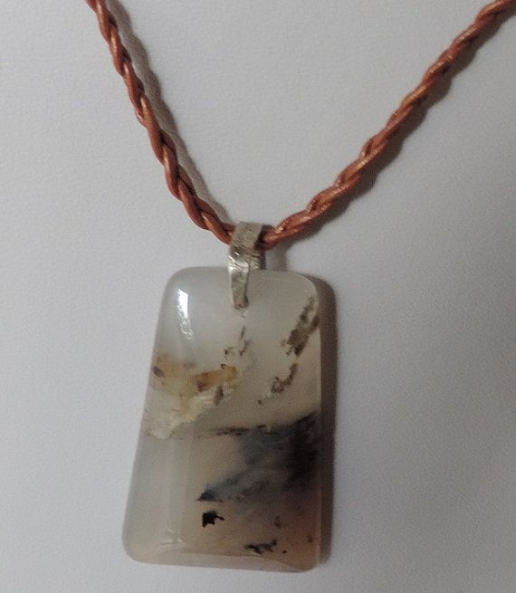 Pendant agate imitation long leather women  girls by alcpcreations