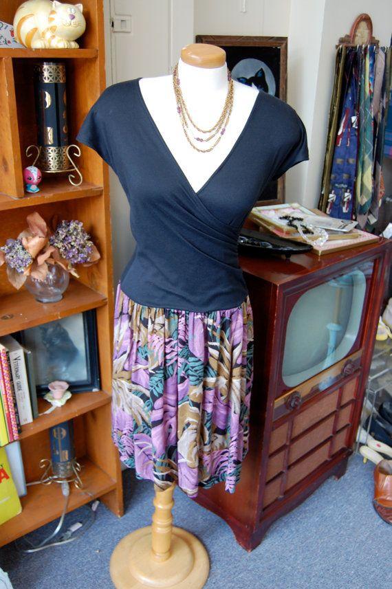 Vintage 1980s Black & Jungle Print Dress  Size Small by BCVintage