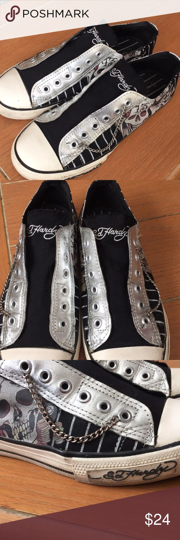 Ed Hardy slip on tennis shoes Super cut with chain attached size 7.  Great condition Ed Hardy Shoes Flats & Loafers