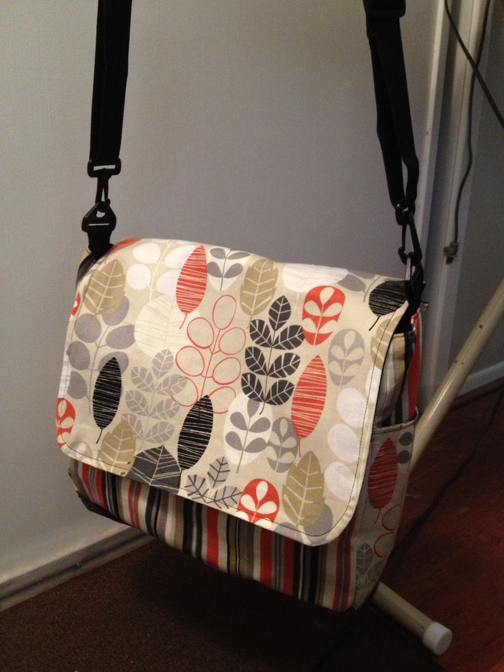 DIY: Messenger Bag I made from this Diaper Bag pattern from this site: http://amingledyarn.wordpress.com/gallery/tutorial-hip-mama-diaper-bag/