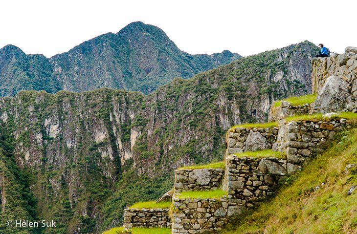 The giant terraces at Machu Picchu, Peru.