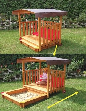 Playhouse- cool slide out sandbox-definitely going to have to talk the boys into making this someday! Add chalkboard on side of reading area