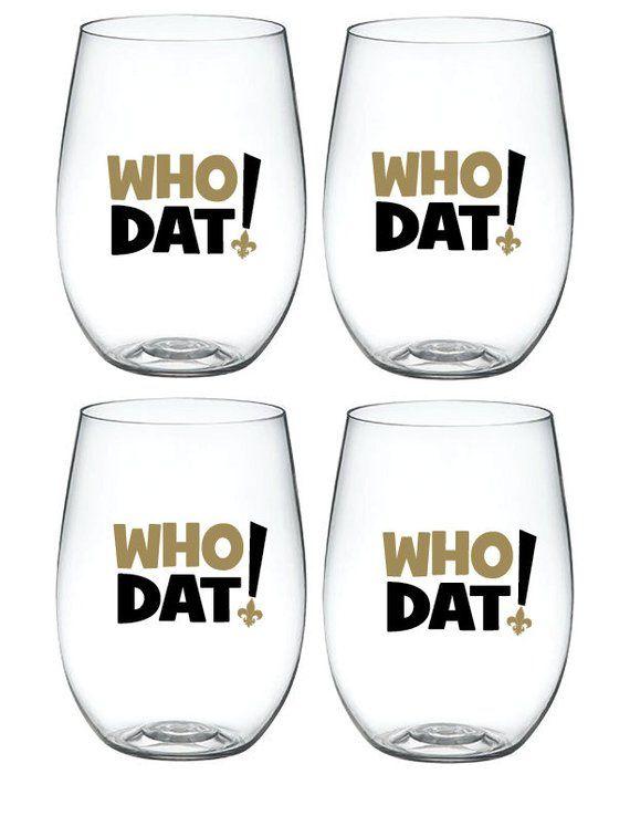 4-pk Wine-Oh Designer BPA Free Plastic Shatterproof Wine Glass MARDI GRAS