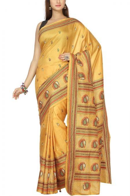 Deep Mustard & Red-Green Thread Paisley Kantha Tussar Silk Saree