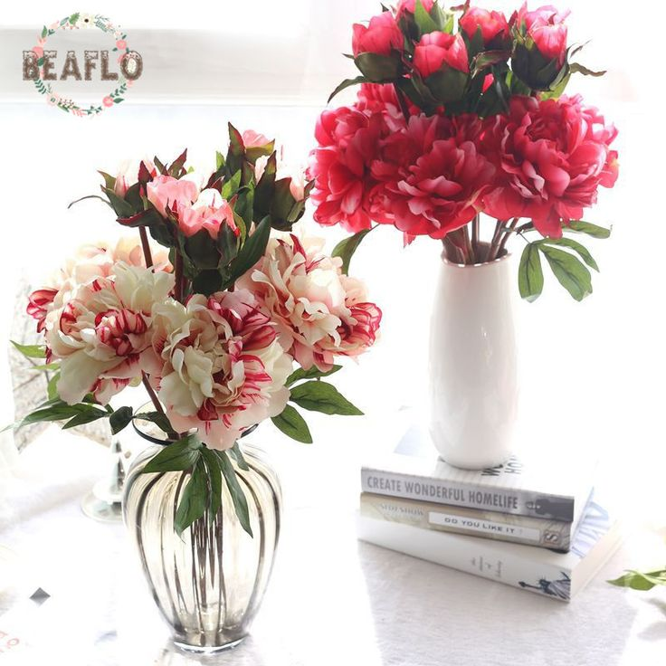 1PC Artifical Flowers Peony Silk Flower Real Touch humectant Floristry For Wedding Party Home Decorative 5 Colors #Affiliate