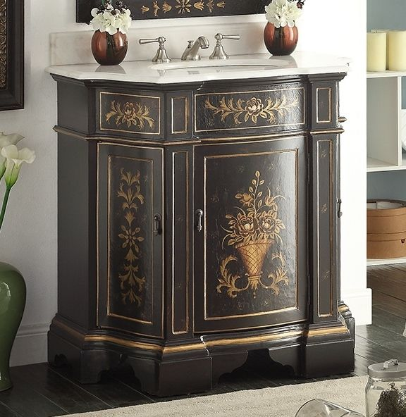 Nice Adelina 36 Inch Antique Hand Painted Vintage Black Finish Bathroom Vanity