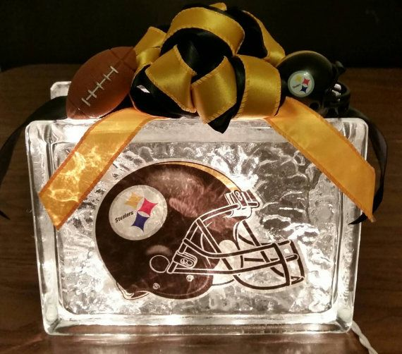 PITTSBURGH STEELERS Helmet Decal Lighted Glass Block by BlockDecor