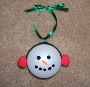 Homemade Christmas Ornaments, use earmuff patterns for snowman faces too!