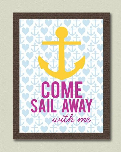 come sail away with me.: Theme Rooms, Nautical Rooms, Anchors Heart, Anchors Artworks, Cute Anchors, Sailing Away, Colors Black, Frames Art, Anchors Stuff