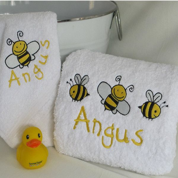 Personalised baby bath towel set.