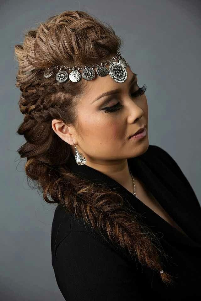 Voluminous Viking Braid Mohawk Hairstyles Night