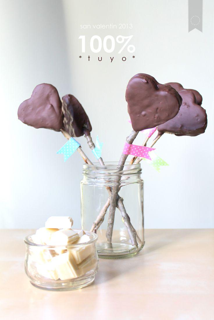 Piruletas de chocolate y bizcocho con palo de rama