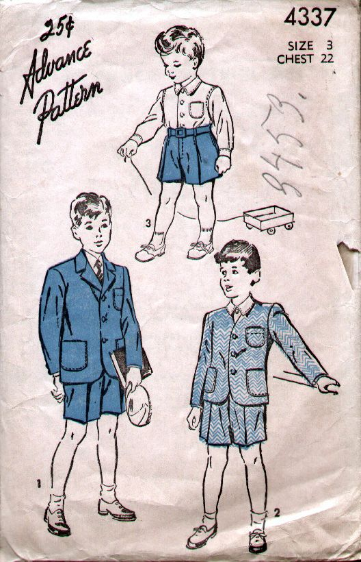 Advance 4337 1946 Tot Short Pants, Shirt and Jacket Suit.Styled like a grown up, this little boys suit has short pants with front fly closing, waistband, belt loops and pleated front.The jacket has patch pockets and 3 button closure.The shirt has a notched collar, button front closing and the set in sleeves gathered to buttoned cuffs. [insert your photos of this pattern made up]