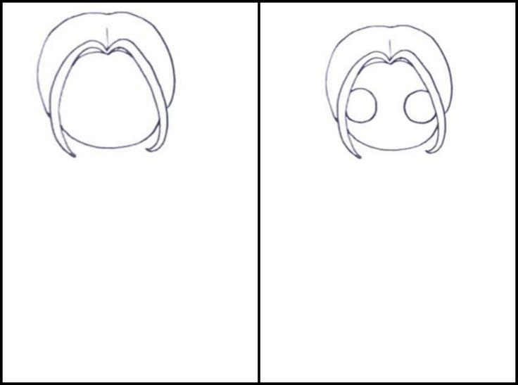 3. Проводим линию подбородка. 4. Рисуем круглые глаза, располагая их поближе к волосам.