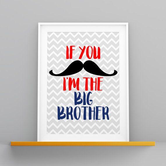 Téléchargement numérique pépinière moustache grand frère rouge bleu marine gris Chevron blanc bébé garçon 8 x 10 imprimé mural Art déco
