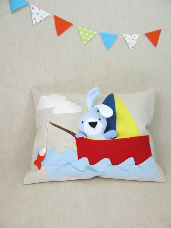 Playful Pillow with Bunny in the Boat by ViolaStudio on Etsy, $59.00