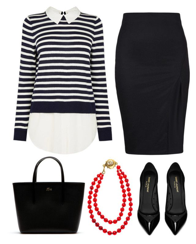"""Офисный стиль Office outfit"" by tyttaya on Polyvore featuring мода, Yves Saint Laurent, Lacoste и Chanel"