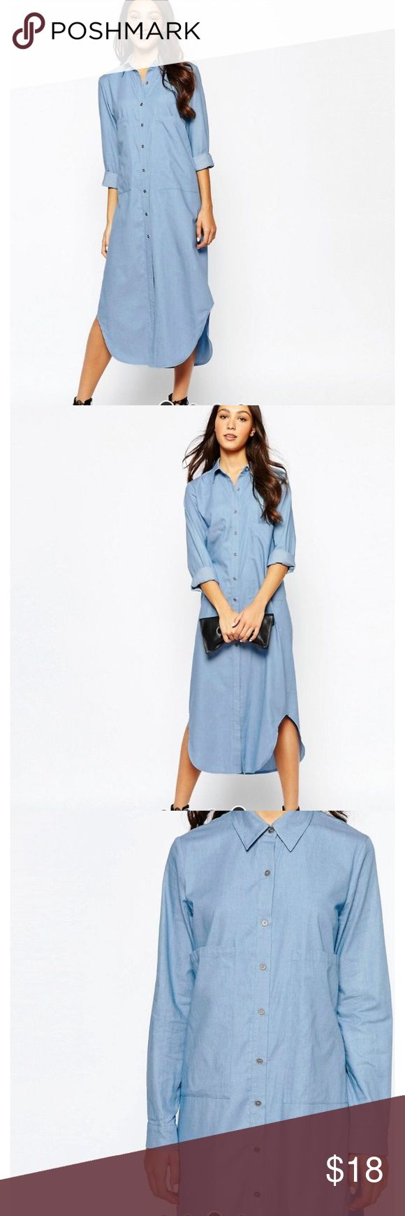 Asos/Never fully Dresses Chambray Maxi Shirt Dress Never worn, adorable chambray dress with over-sized front pockets.  Not a stitch wrong with it! 100% cotton. ASOS Dresses Maxi