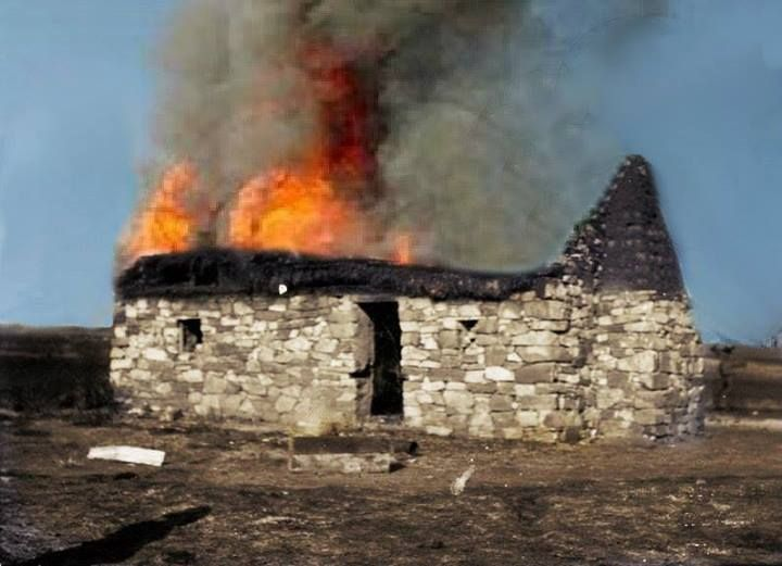 """It is estimated than more than 40 000 farms were burned by the British. Here Johan Lombaard brings life to what was known as """"Scorched earth""""."""
