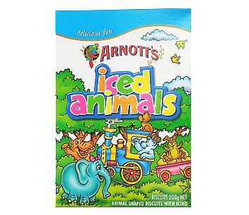 Arnott's Iced Animals 200g, AU$4.95 plus postage from Kiwi Shop Online (price correct as at 18.09.17)