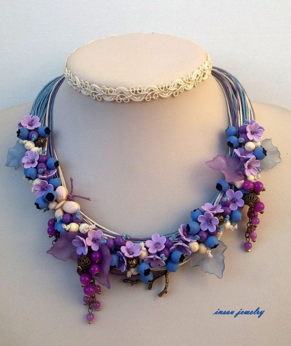 Light blue necklace  Berries  Multi strand by insoujewelry on Etsy