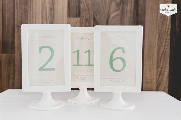 Wedding table numbers to frame, mint color. Table decor. / Miętowe numery stołów do ramki.