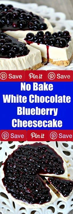 No Bake White Chocolate Blueberry Cheesecake - The answer to all your chocolate blueberry cravings! Just 30 minutes to make and best of all no baking involved. Gluten-free option #sweets